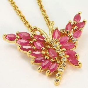 Jewelry - 4.14 Cts Ruby & Diamond Butterfly Necklace